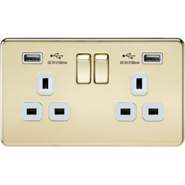 Screwless Switches & Sockets Polished Brass