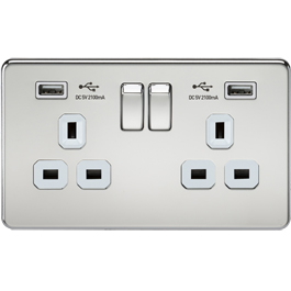 Screwless Switches & Sockets Polished Chrome