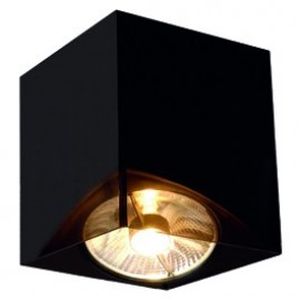 SLV ACRYLIC BOX SINGLE ES111ceiling light, square,black/translucent, max. 1x75W 117231