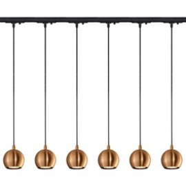 SLV Lighting 144029TK6 Light Eye Pendant GU10 7W 6 Light Track Kit Copper & Black