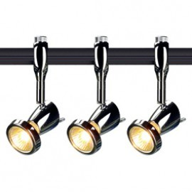 SLV Lighting 185092TK3 Siena 50W 3 Light Track Kit Chrome & Black