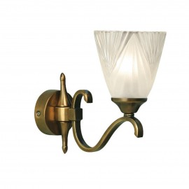 Interiors 1900 63452 Columbia brass single wall & deco glass 40W Antique brass finish & clear glass with frosted inner