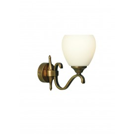 Interiors 1900 63453 Columbia brass single wall & opal glass 40W Antique brass finish & matt opal glass