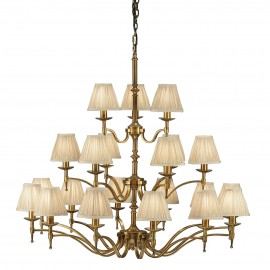Interiors 1900 63625 Stanford antique brass 21lt pendant & beige shades 40W Antique brass finish & beige organza effect fabric