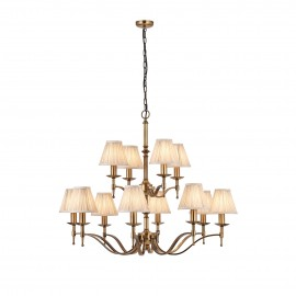 Interiors 1900 63626 Stanford antique brass 12lt pendant & beige shades 40W Antique brass finish & beige organza effect fabric