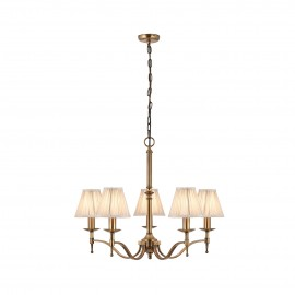 Interiors 1900 63627 Stanford antique brass 5lt pendant & beige shades 40W Antique brass finish & beige organza effect fabric