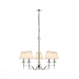 Interiors 1900 63631 Stanford nickel 5lt pendant & beige shades 40W Polished nickel plate & beige organza effect fabric