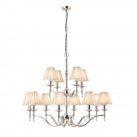 Interiors 1900 63632 Stanford nickel 12lt pendant & beige shades 40W Polished nickel plate & beige organza effect fabric