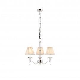 Interiors 1900 63633 Stanford nickel 3lt pendant & beige shades 40W Polished nickel plate & beige organza effect fabric