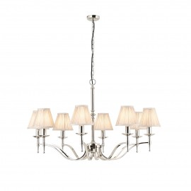 Interiors 1900 63635 Stanford nickel 8lt pendant & beige shades 40W Polished nickel plate & beige organza effect fabric