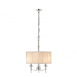 Interiors 1900 63636 Stanford nickel 3lt pendant & beige shade 40W Polished nickel plate & beige organza effect fabric