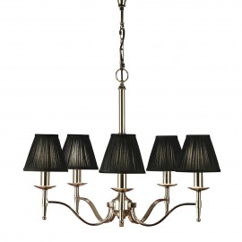 Interiors 1900 63637 Stanford nickel 5lt pendant & black shades 40W Polished nickel plate & black organza effect fabric