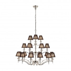 Interiors 1900 63639 Stanford nickel 21lt pendant & black shades 40W Polished nickel plate & black organza effect fabric