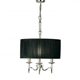 Interiors 1900 63640 Stanford nickel 3lt pendant & black shade 40W Polished nickel plate & black organza effect fabric