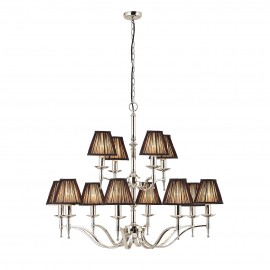 Interiors 1900 63641 Stanford nickel 12lt pendant & black shades 40W Polished nickel plate & black organza effect fabric