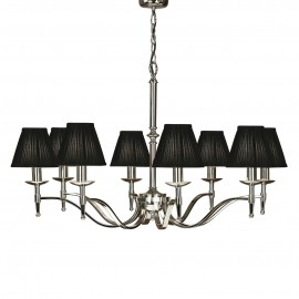Interiors 1900 63642 Stanford nickel 8lt pendant & black shades 40W Polished nickel plate & black organza effect fabric