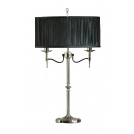 Interiors 1900 63652 Stanford nickel table & black shade 40W Polished nickel plate & black organza effect fabric