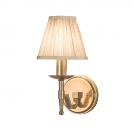 Interiors 1900 63653 Stanford antique brass single wall & beige shade 40W Antique brass finish & beige organza effect fabric