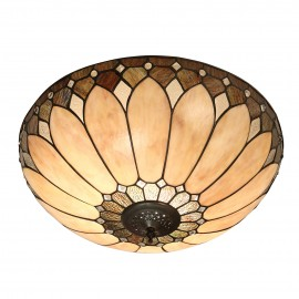 Interiors 1900 63973 Brooklyn large 2lt flush 60W Tiffany style glass & dark bronze paint with highlights