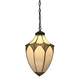 Interiors 1900 63974 Brooklyn medium acorn 1lt pendant 60W Tiffany style glass & dark bronze paint with highlights
