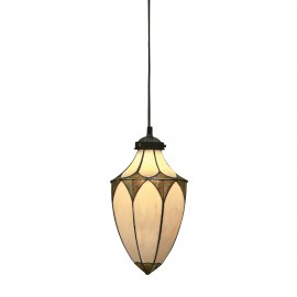 Interiors 1900 63975 Brooklyn small acorn 1lt pendant 40W Tiffany style glass & dark bronze paint with highlights
