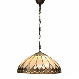 Interiors 1900 63977 Brooklyn medium 1lt pendant 60W Tiffany style glass & dark bronze paint with highlights
