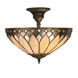 Interiors 1900 63978 Brooklyn medium 3lt semi flush 60W Tiffany style glass & dark bronze paint with highlights