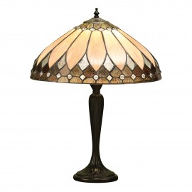 Interiors 1900 63982 Brooklyn medium table 60W Tiffany style glass & dark bronze paint with highlights