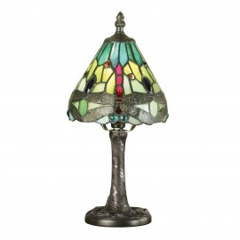 Interiors 1900 64099 Dragonfly green mini table 40W Tiffany style glass & dark bronze paint with highlights