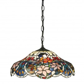 Interiors 1900 64325 Sullivan medium 1lt pendant 60W Tiffany style glass & dark bronze paint with highlights