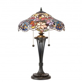 Interiors 1900 64326 Sullivan medium table 60W Tiffany style glass & dark bronze paint with highlights