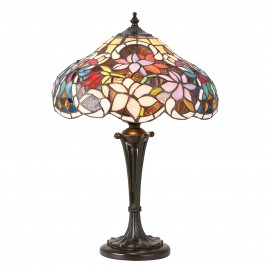 Interiors 1900 64327 Sullivan small table 60W Tiffany style glass & dark bronze paint with highlights