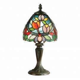 Interiors 1900 64331 Sylvette mini table 40W Tiffany style glass & dark bronze paint with highlights