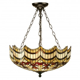 Interiors 1900 64374 Vesta large inverted 3lt pendant 60W Tiffany style glass & dark bronze paint with highlights