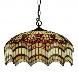 Interiors 1900 64375 Vesta medium 3lt pendant 60W Tiffany style glass & dark bronze paint with highlights