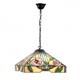 Interiors 1900 64384 Willow large 3lt pendant 60W Tiffany style glass & dark bronze paint with highlights