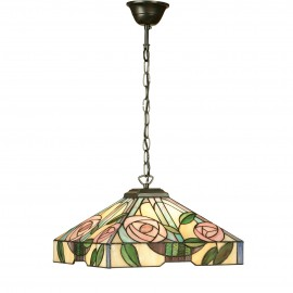 Interiors 1900 64385 Willow medium 1lt pendant 60W Tiffany style glass & dark bronze paint with highlights