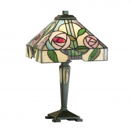 Interiors 1900 64386 Willow small table 40W Tiffany style glass & dark bronze paint with highlights