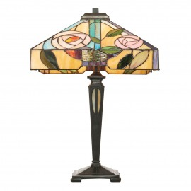 Interiors 1900 64387 Willow medium table 60W Tiffany style glass & dark bronze paint with highlights