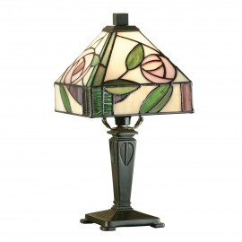 Interiors 1900 64388 Willow mini table 40W Tiffany style glass & dark bronze paint with highlights