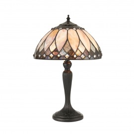 Interiors 1900 70366 Brooklyn small table 40W Tiffany style glass & dark bronze paint with highlights