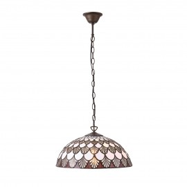 Interiors 1900 70375 Missori medium 1lt pendant 60W Tiffany style glass & dark bronze paint with highlights