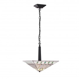 Interiors 1900 70380 Mission medium inverted 2lt pendant 60W Tiffany style glass & dark bronze paint with highlights