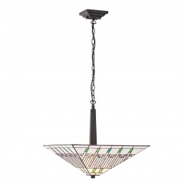 Interiors 1900 70381 Mission large inverted 2lt pendant 60W Tiffany style glass & dark bronze paint with highlights