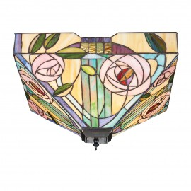 Interiors 1900 70698 Willow large 2lt flush 60W Tiffany style glass