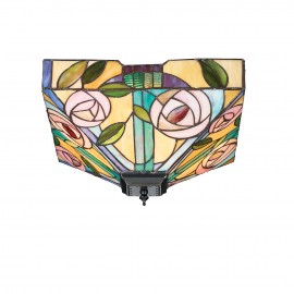 Interiors 1900 70699 Willow medium 2lt flush 60W Tiffany style glass