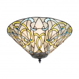 Interiors 1900 70700 Dauphine medium 2lt flush 60W Tiffany style glass