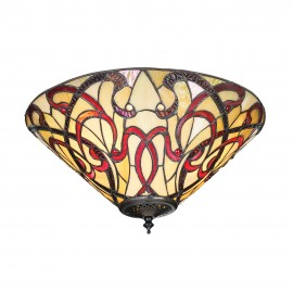 Interiors 1900 70701 Ruban medium 2lt flush 60W Tiffany style glass