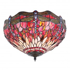 Interiors 1900 70708 Dragonfly red medium 2lt flush 60W Tiffany premium art glass