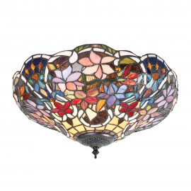 Interiors 1900 70709 Sullivan medium 2lt flush 60W Tiffany style glass